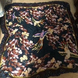 Beautiful oversized square scarf Floral with birds